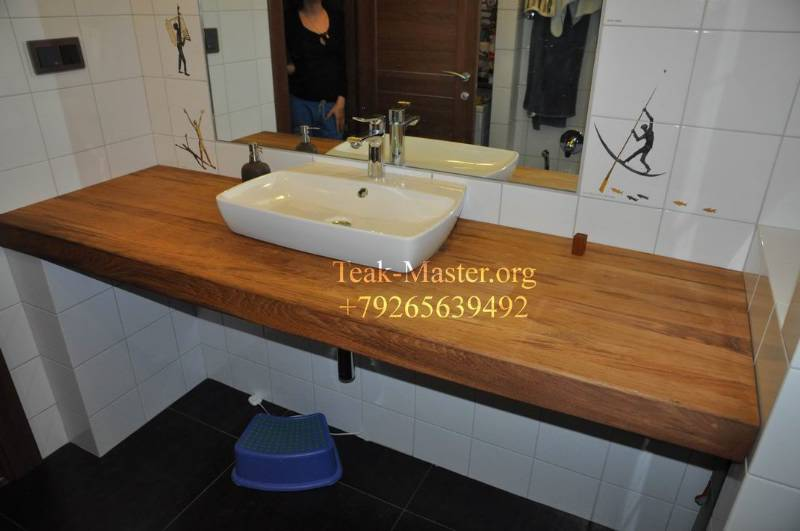 Столешница под раковину в ванную комнату из дерева