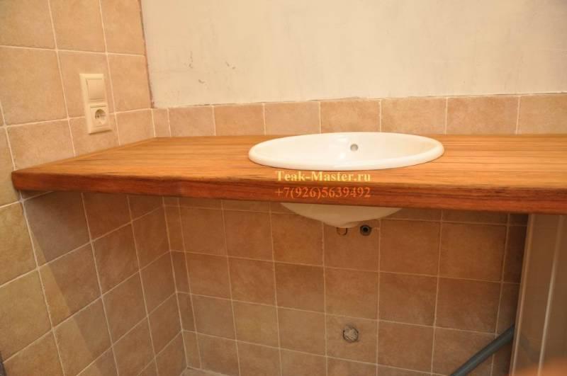 Столешница в ванной из дерева своими руками